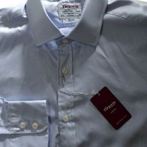 T.M.Lewin Slim Fit Blue Houndstooth Shirt 16.5